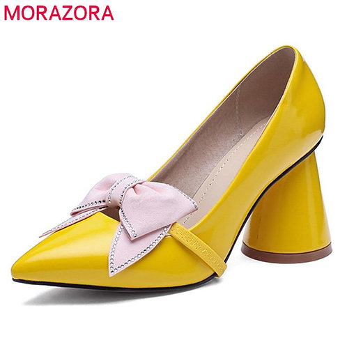 MORAZORA 2020 solid colors women pumps bowknot slip on spring summer shoes lady