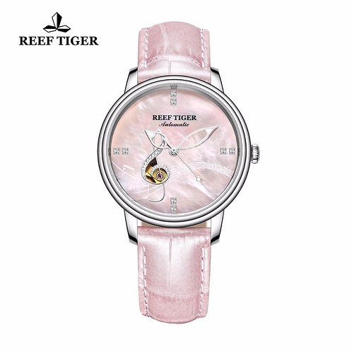 Reef Tiger/RT Top Brand Women Pink Dial Genuine Leather Strap Watches Mechanical