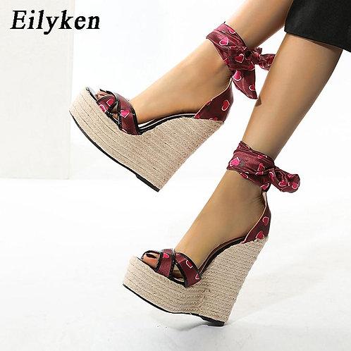 Eilyken New Design Heart-Shaped Pattern Silk Lace-Up Women Platform Sandals Summ