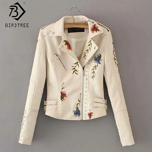 Women Floral Print Embroidery Faux Soft Leather Jacket Coat Turn-down Collar Cas