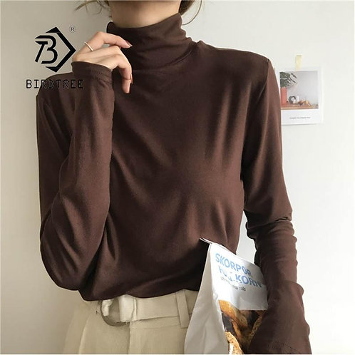 2020 Korean Autumn Turtleneck Slim Solid Women Elegant Casual Long Sleeve T Shir