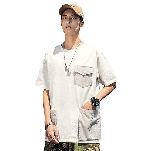 2020 Hip Hop T Shirt Streetwear Multi Pocket Casual T-Shirt Men Harajuku Summer