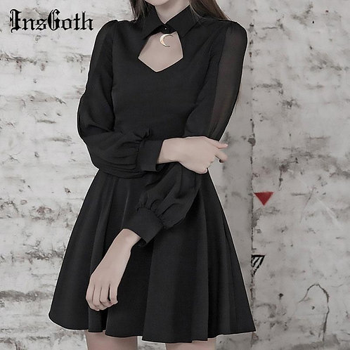 InGoth Punk Gothic Sexy Hollow Out Black Dress Harajuku Moon Pendant Mesh Patchw