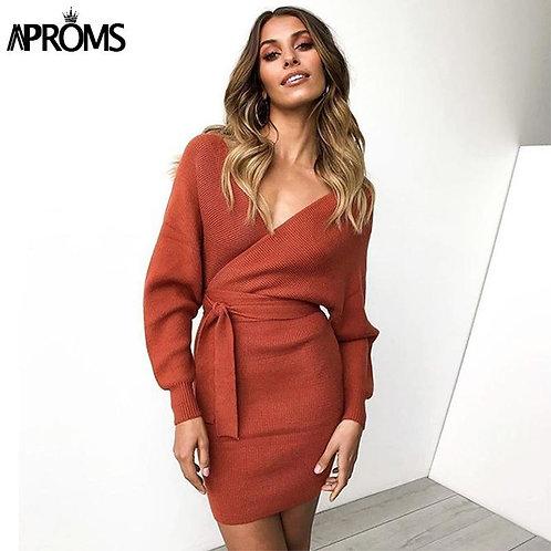 Aproms Elegant Gray High Stretch Knitted Mini Dress Women 2020 Winter Sexy V-Nec