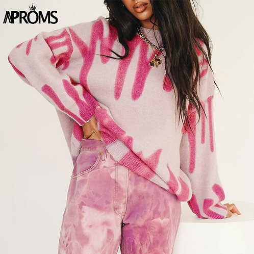 Aproms Elegant Korean Fashion Rose Stripe Print Long Sweater Women 2020 Winter S