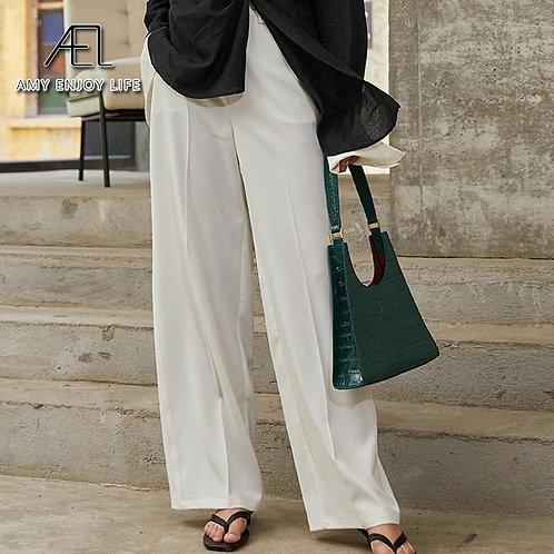 AEL High Waist Wide Leg Loose casual Pants Women Solid Vintage Trouser white Lon
