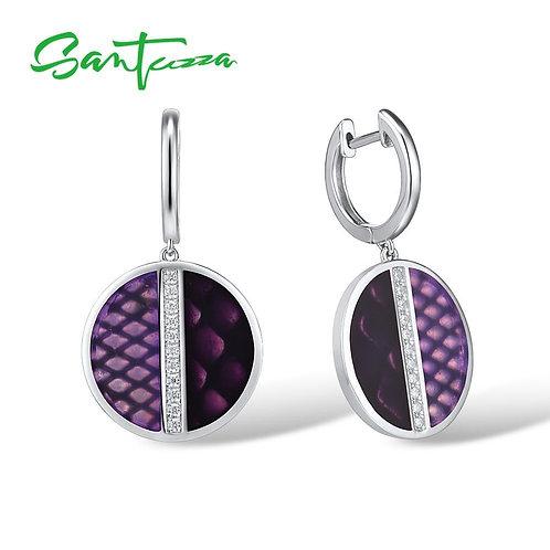 SANTUZZA Silver Earrings For Women Genuine 925 Sterling Silver Purple Round Circ