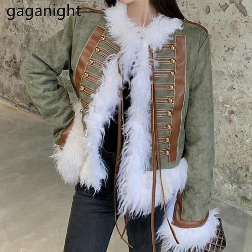 Gaganight Cool Women Winter Warm Thick Coat Fleece Fashion Lady Chic Cropped Jac