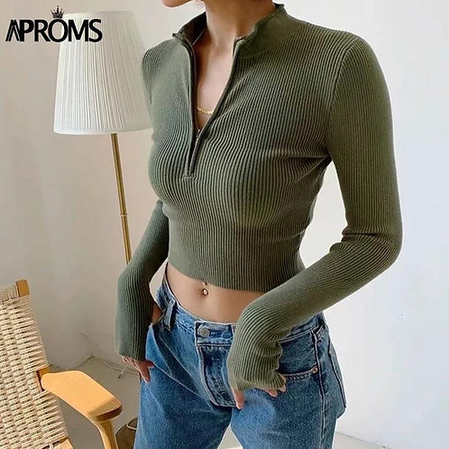 Aproms Elegant High Neck Zipper Front Knitted Sweater Women Solid Basic Cropped