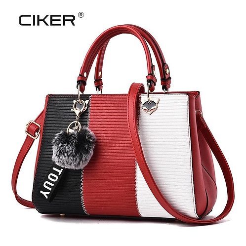 CIKER Fashion New Contrast Color Top-Handle Bags Women Leather Handbags PU Women