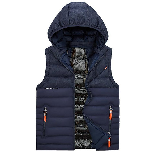 2020 Men Winter Waistcoat Men Vest Pockets Casual Sleeveless Jacket Hooded Thick