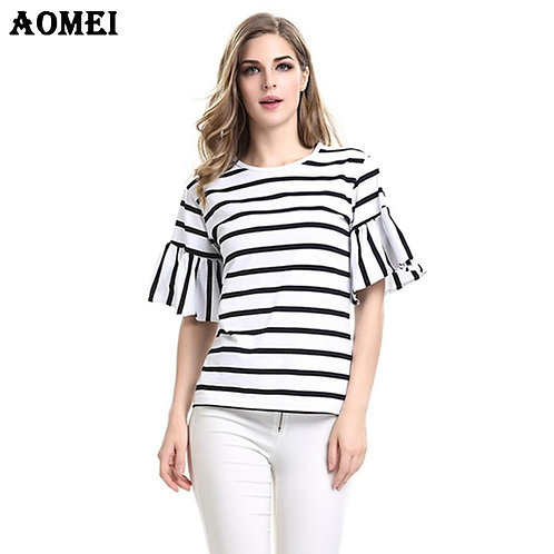 2020 Women Ruffles Sleeve Casual T Shirt Striped Black and White O Neck Summer S