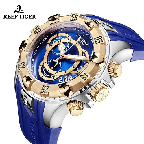 2020 Reef Tiger/RT Top Brand Luxury Men Sport Watch Waterproof Blue Chronograph