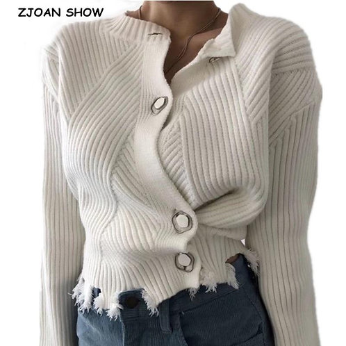 2 style wear 2020 Retro Single-breasted Button Knitted Cardigan Fringed Sweater