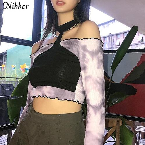 Nibber Autumn Sweet Korean Style Strapless Top Women T-shirts 2020 Casual Street