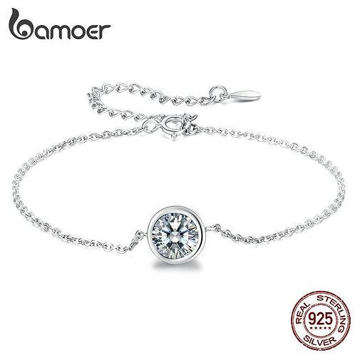 bamoer Simple bracelet Link Chain Bracelets for Women 925 Sterling Silver Bracel