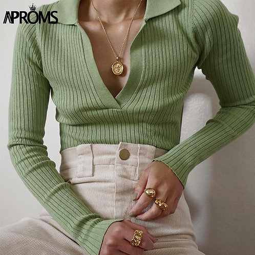 Aproms Vintage Turn-down Collar Knitted T-shirt Women Long Sleeve Soft Bodycon T