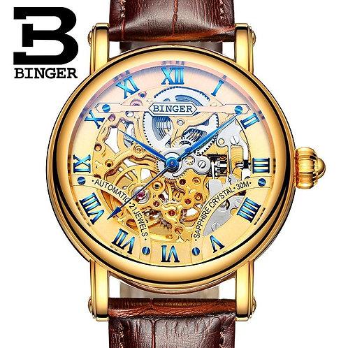 BINGER Men Wristwatches Skeleton Male Clock Leather Strap Steampunk Gold Casual