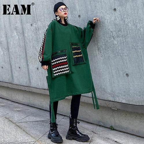 [EAM] Women Back Plaid Ribbon Big Size Thick Dress New Round Neck Long Sleeve Lo