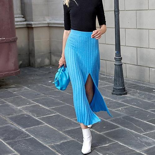 AEL Women fashion Skirts Autumn Winter Elastic High Waist blue Knitted Sweater S