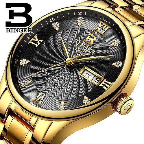 Chronograph Brand Watch Fashion Quartz Watch For Men Sports Watches Gold Steel S