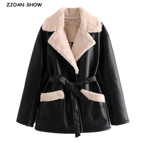 2020 Winter Women Furry Lapel Faux fur Faux Leather PU Jacket Tie Bow Sashes Dou