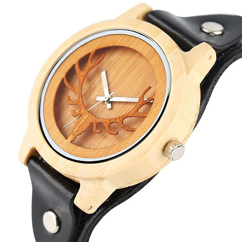 Christmas Elk Engraving Hollow Bamboo Men Watches Punk Fashion Genuine Leather W