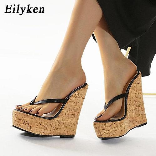 Eilyken Sexy Super High Heels Large Size 35-42 Platform Wedges Pinch slippers Mu
