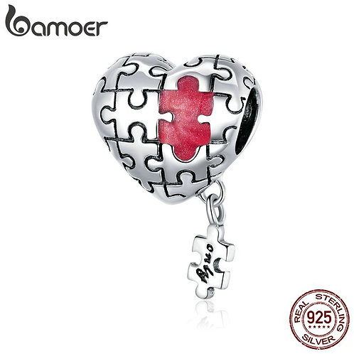 bamoer Real 925 Sterling Silver Love Puzzles silver Charm for Original 3mm Brace
