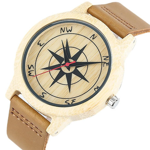 Compass Pattern Red Seconds Display Wood Watch Men's Genuine Leather Wristwatch
