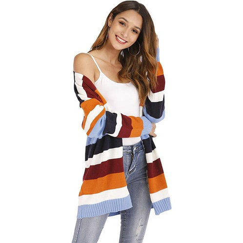 Autumn Winter Women's Cardigans American Style Stripes Hit Color Casual Knitted