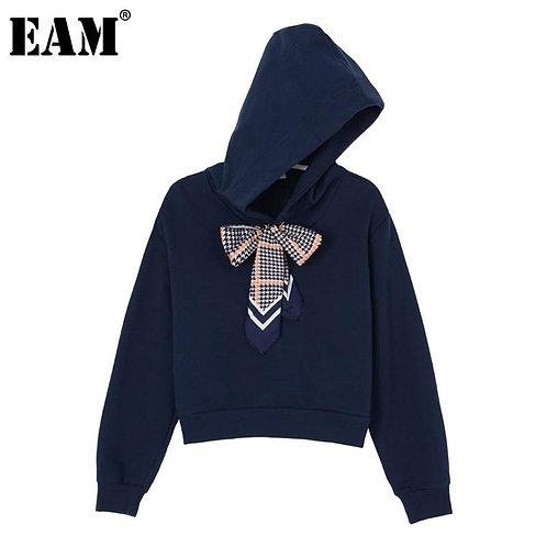 [EAM] Loose Fit Bandage Bow Split Joint Sweatshirt New Hooded Long Sleeve Women