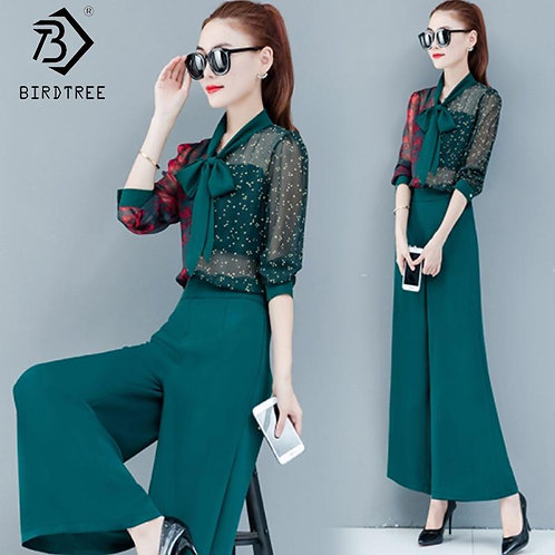 2020 Spring New Women's Suits Floral Printed Hollow Out Bow Tops And High Waist