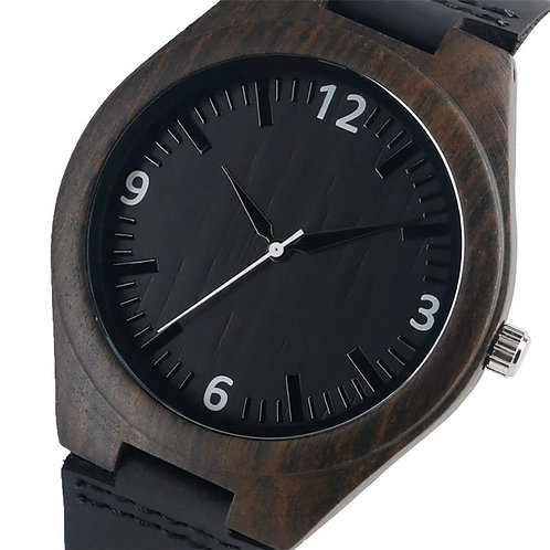 Ebony Wood Watch Men's Quartz Genuine Leather Wristwatch Arabic Numerals Display