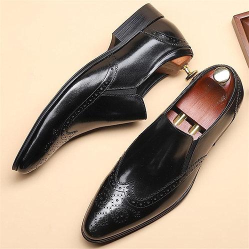 Genuine leather Men brogue Business Wedding banquet shoes casual flat shoes vint
