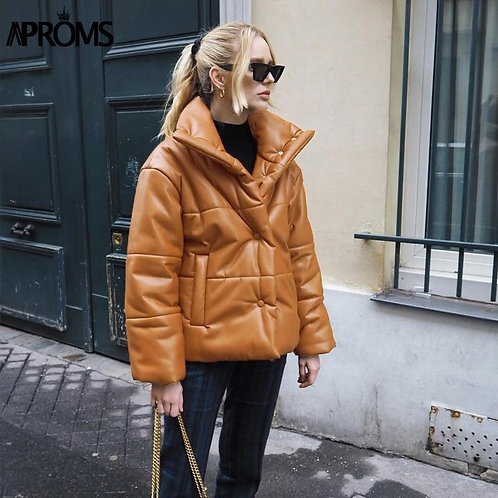 Aproms High Collar Brown Leather Parkas Casual Pockets Thick Puffer Jacket Femal