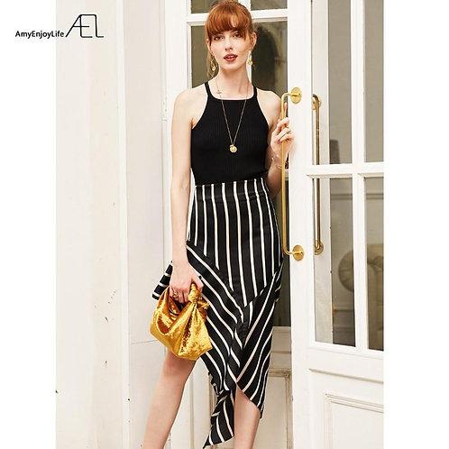 AEL Wrap Satin Midi Skirt Asymmetric Women Black White Stripe High Waist Skirts