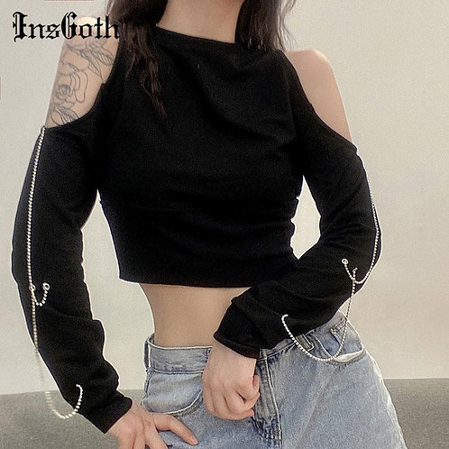 InsGoth Punk Sexy Off Shoulder Black Tops Streetwear Gothic Chain Patchwork Crop