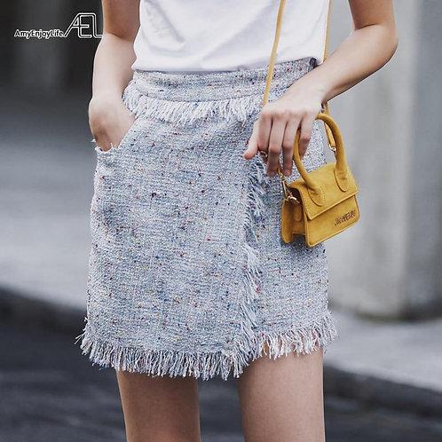AEL Women mottled Skirt Stylish Asymmetric Tassel Skater Skirt Mini High Waist F