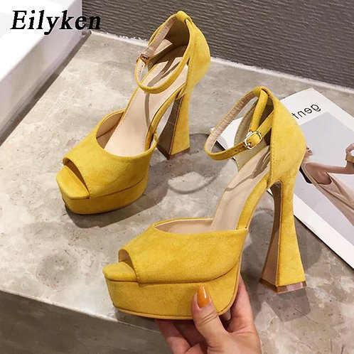 Eilyken Model Catwalk Fashion Thick Heel Elegant Ladies Shoes Sexy Fish Mouth Si