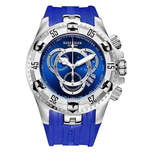 2020 New Reef Tiger/RT All Blue Big Fashion Sport Watches for Men Waterproof Chr