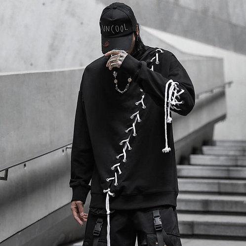 2020 New Streetwear New Black Hoodies Sweatshirts Ribbons O Neck Harajuku Hip Ho