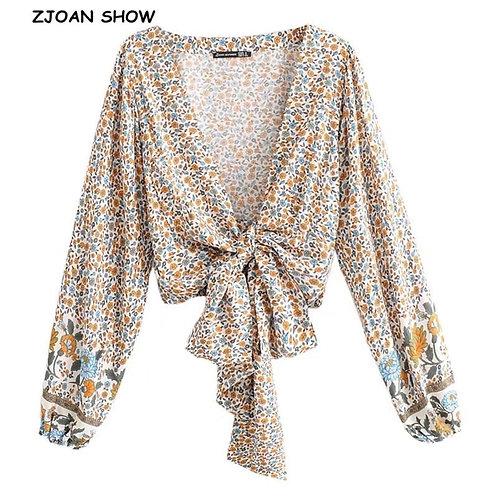 2019 New Women Bohemian  Sun Flower Print Kimono Shirt Batwing Sleeve V-Neck Lac
