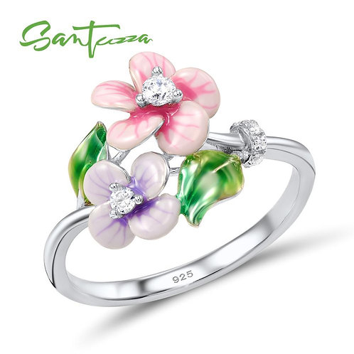 SANTUZZA Silver Ring For Women Genuine 925 Sterling Silver Flower Floral Ring Sh