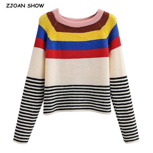 2020 Autumn Contrast colored Stripes Knitting Sweater Streetwear Woman Round Col