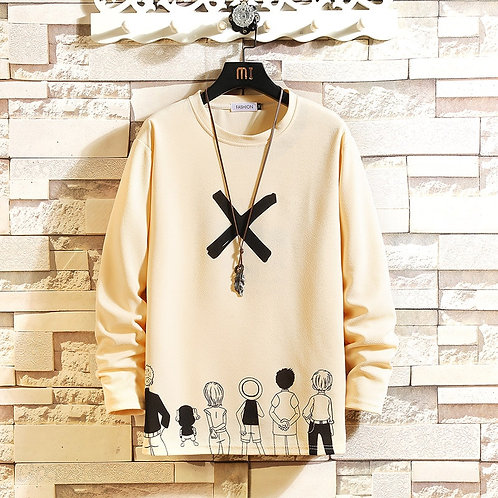 Autumn Black White T-shirt Top Tees Classic Style Brand Fashion Clothes OverSize