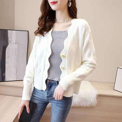 Autumn Winter Women's Cardigans Korean Style Solid Color V-neck Long-sleeved Car