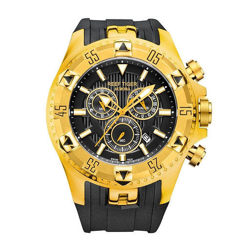 Reef Tiger/RT Sport Mens Watch with Chronograph Date Yellow Gold Rubber Strap Qu