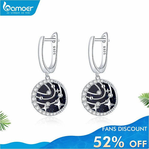 bamoer Stud Earrings for Women 925 Sterling Silver CZ Ear Studs Brilliant Galaxy