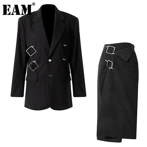 [EAM]  Half-body Skirt Irregular Big Size Two Pieces Suit New Lapel Long Sleeve